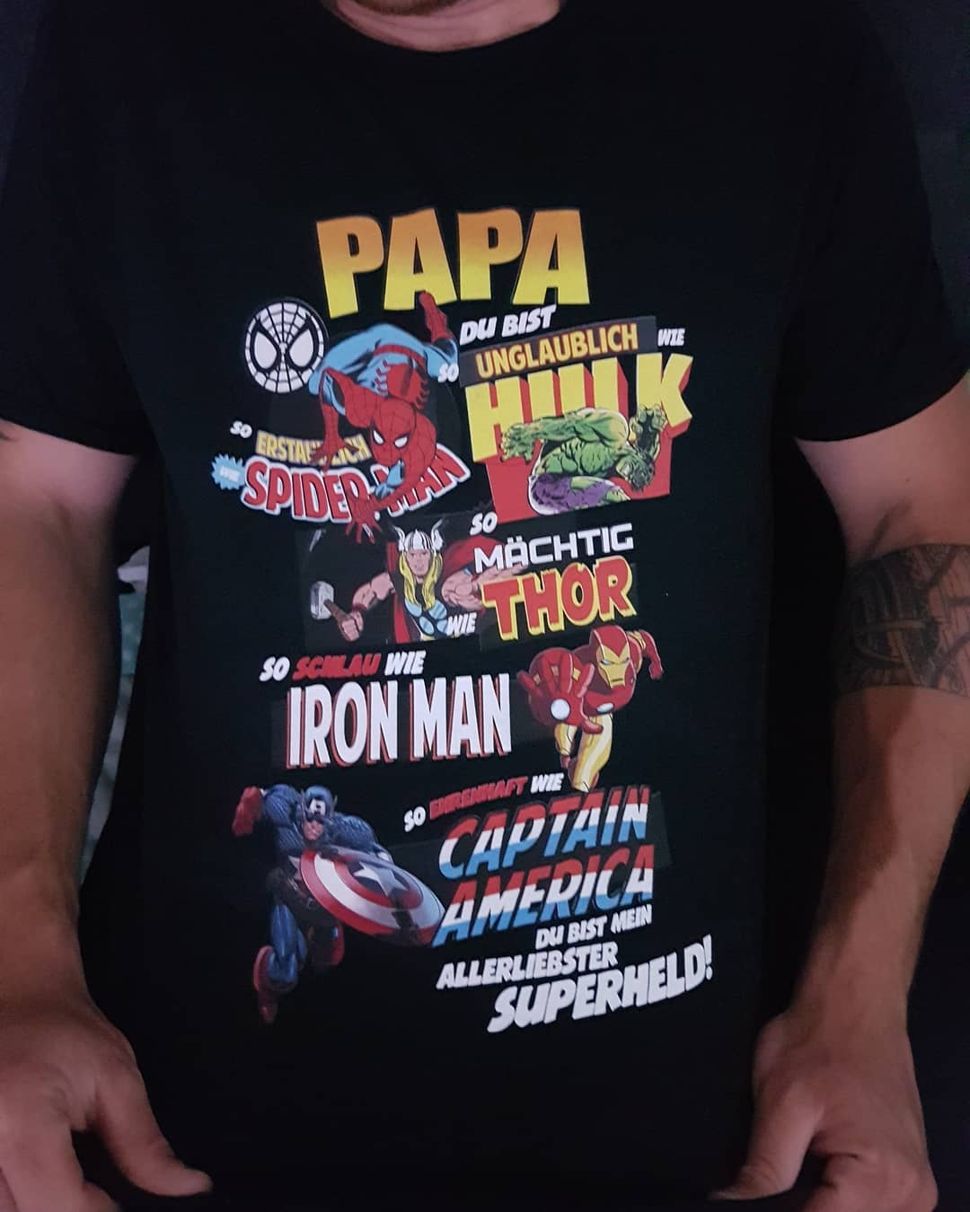Papa Du Bist So Unglaublich Wie Hulk Spider-Man Thor Marvel Shirts photo review