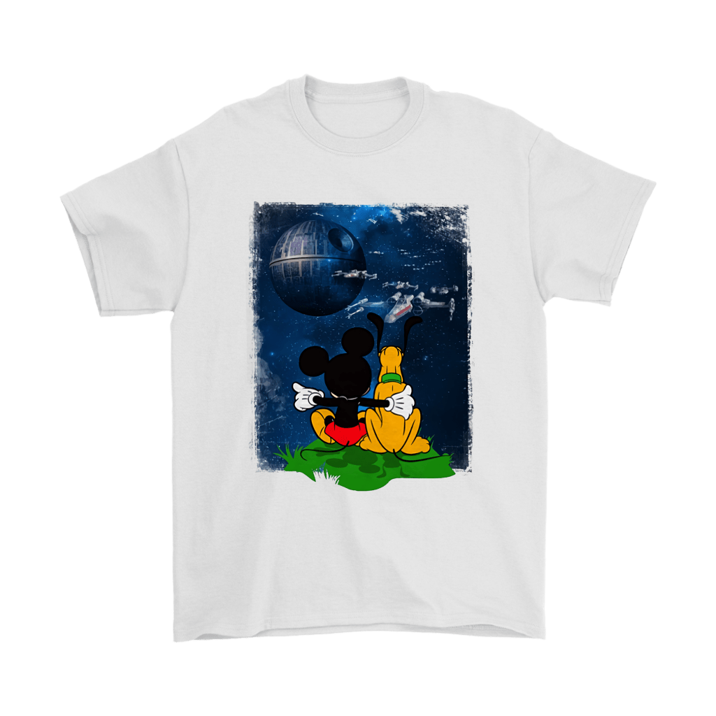 Mickey And Pluto Watch The Death Star Battle Shirts 7