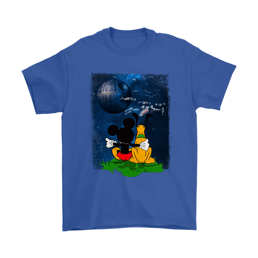Mickey And Pluto Watch The Death Star Battle Shirts 5