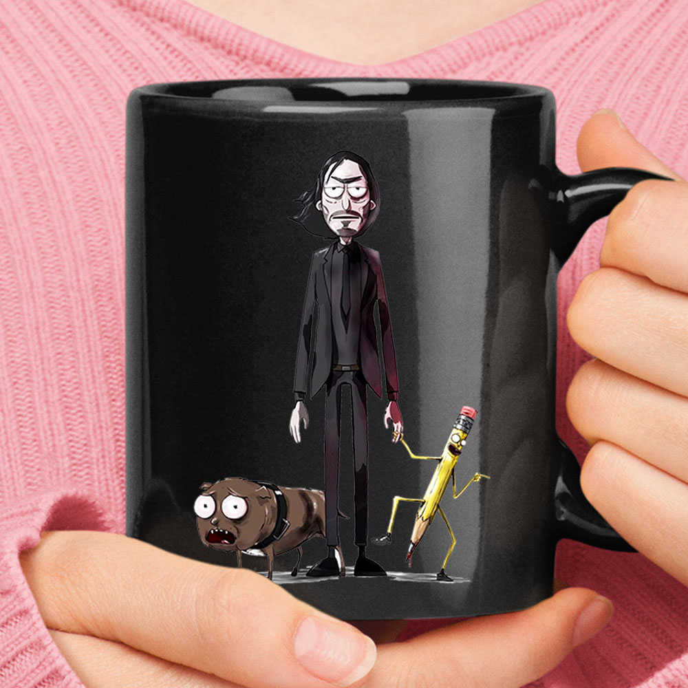 John Wick Dog And Pencil In Rick And Morty Style Mug 1