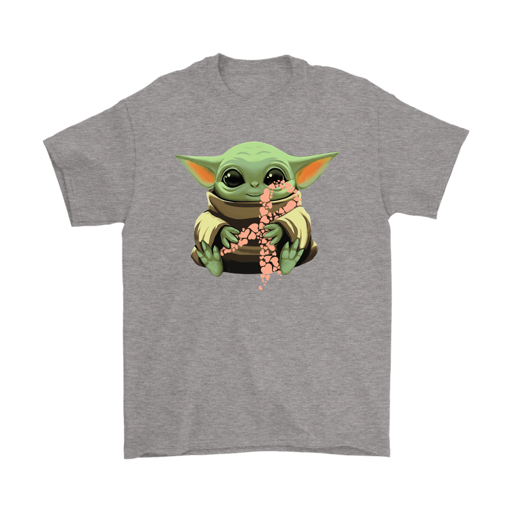 Baby Yoda Hugs Peach Ribbon Honors Uterine Cancer Awareness Shirts 5