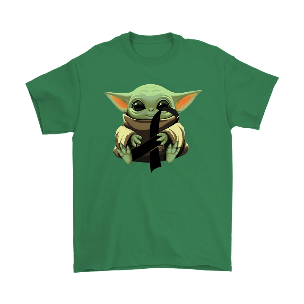 Baby Yoda Hugs Black Ribbon Honors Melanoma Awareness Shirts 20