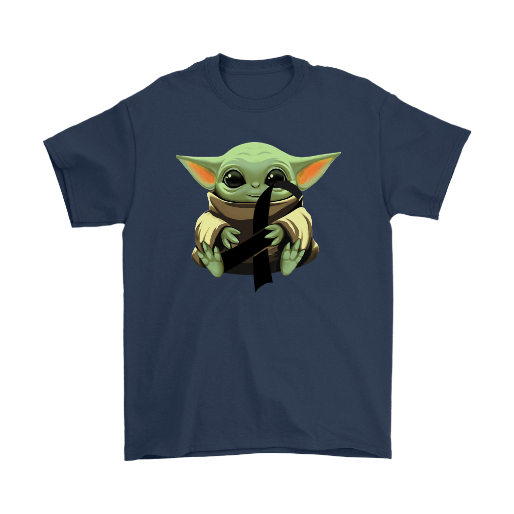 Baby Yoda Hugs Black Ribbon Honors Melanoma Awareness Shirts 2