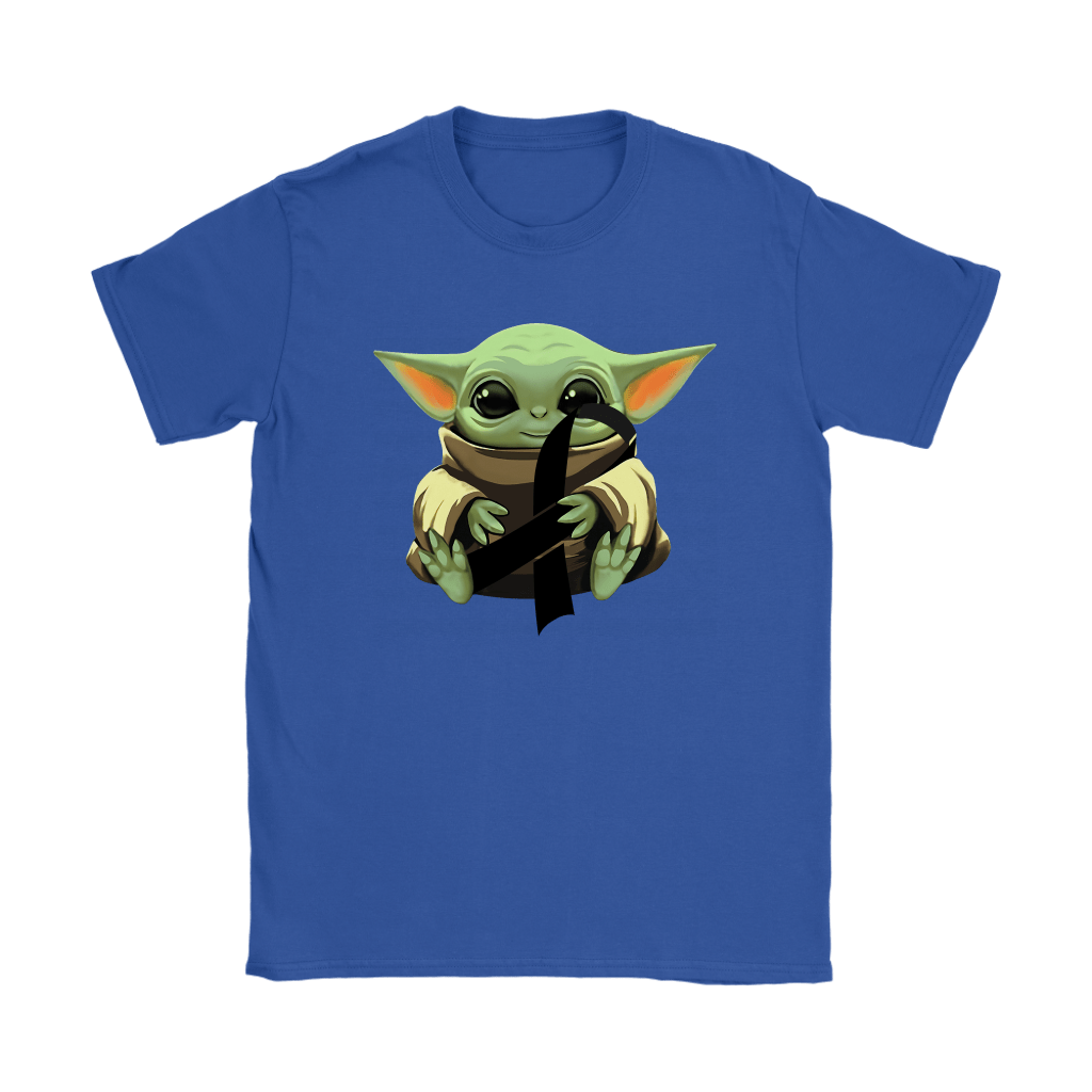 Baby Yoda Hugs Black Ribbon Honors Melanoma Awareness Shirts 24
