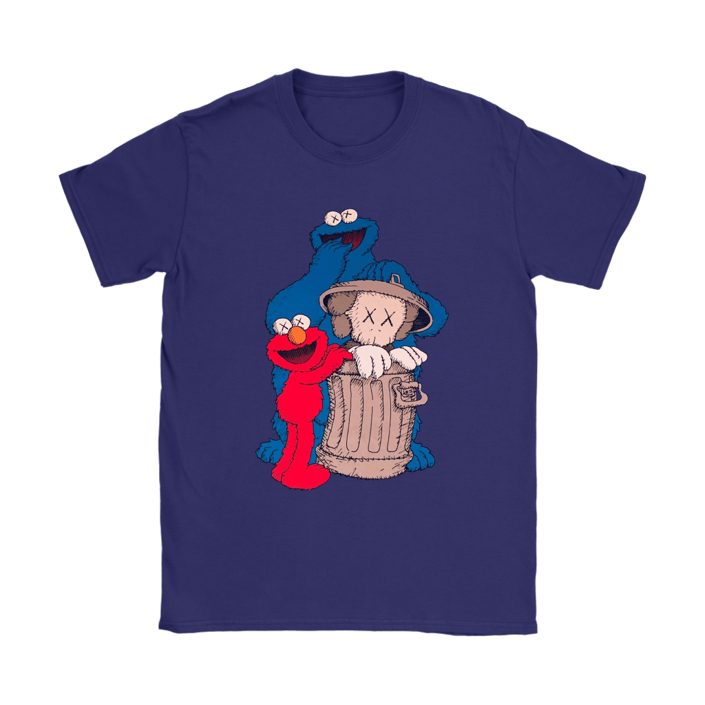Elmo And Cookie Monster Hide KAWS In Trash Can Shirts 11