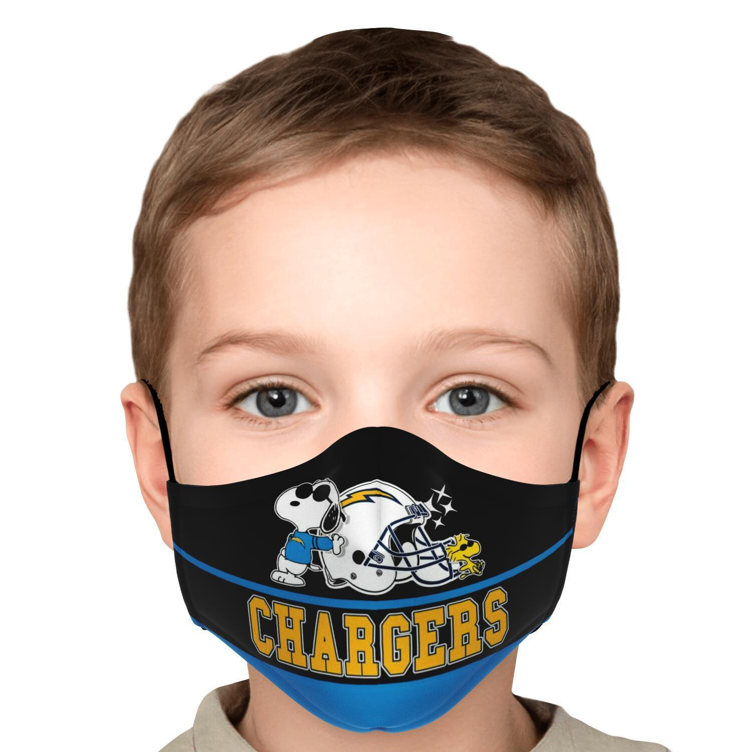 Snoopy Joe Cool Los Angeles Chargers Face Mask 5