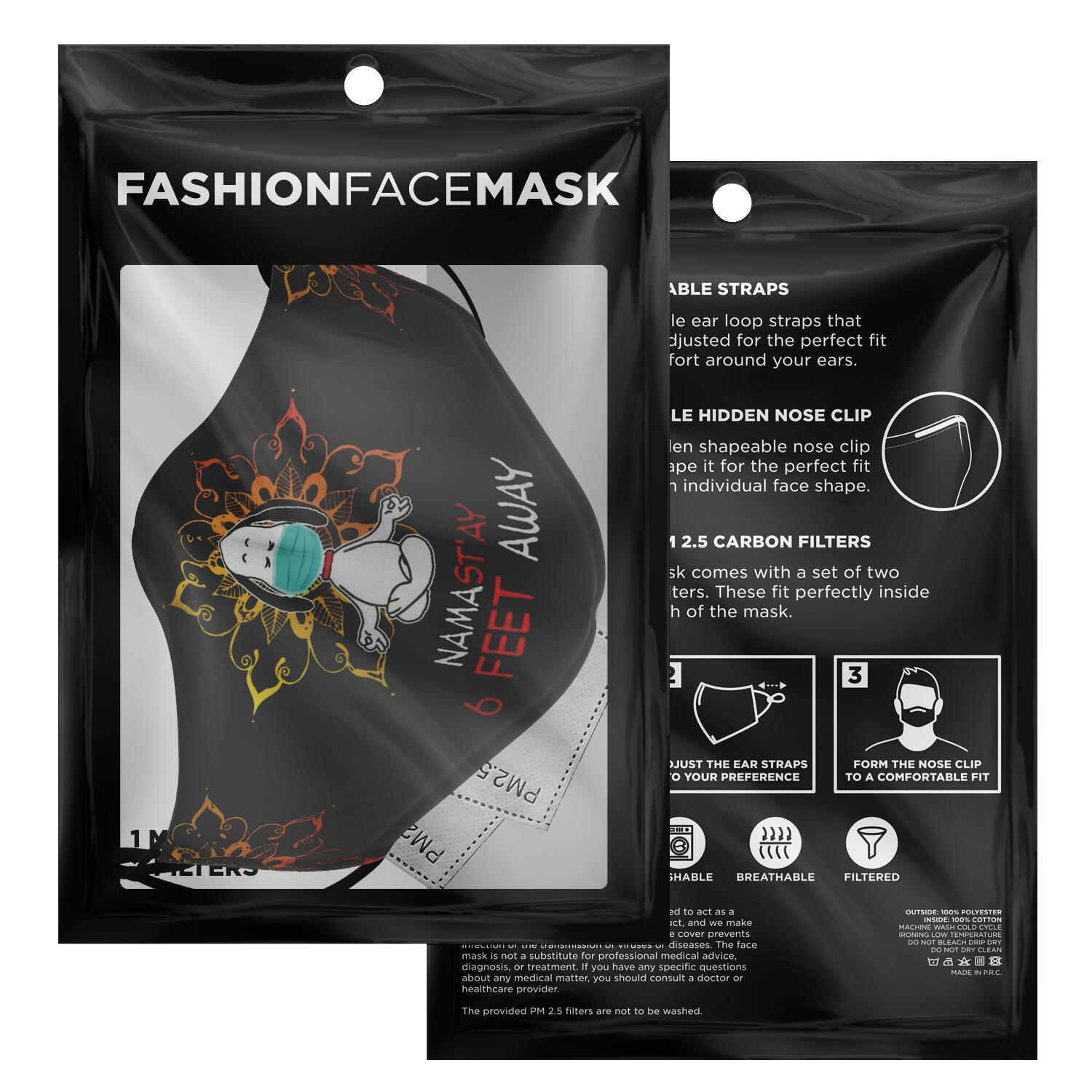Namast'ay 6 Feet Away Corona Virus Snoopy Face Mask 3