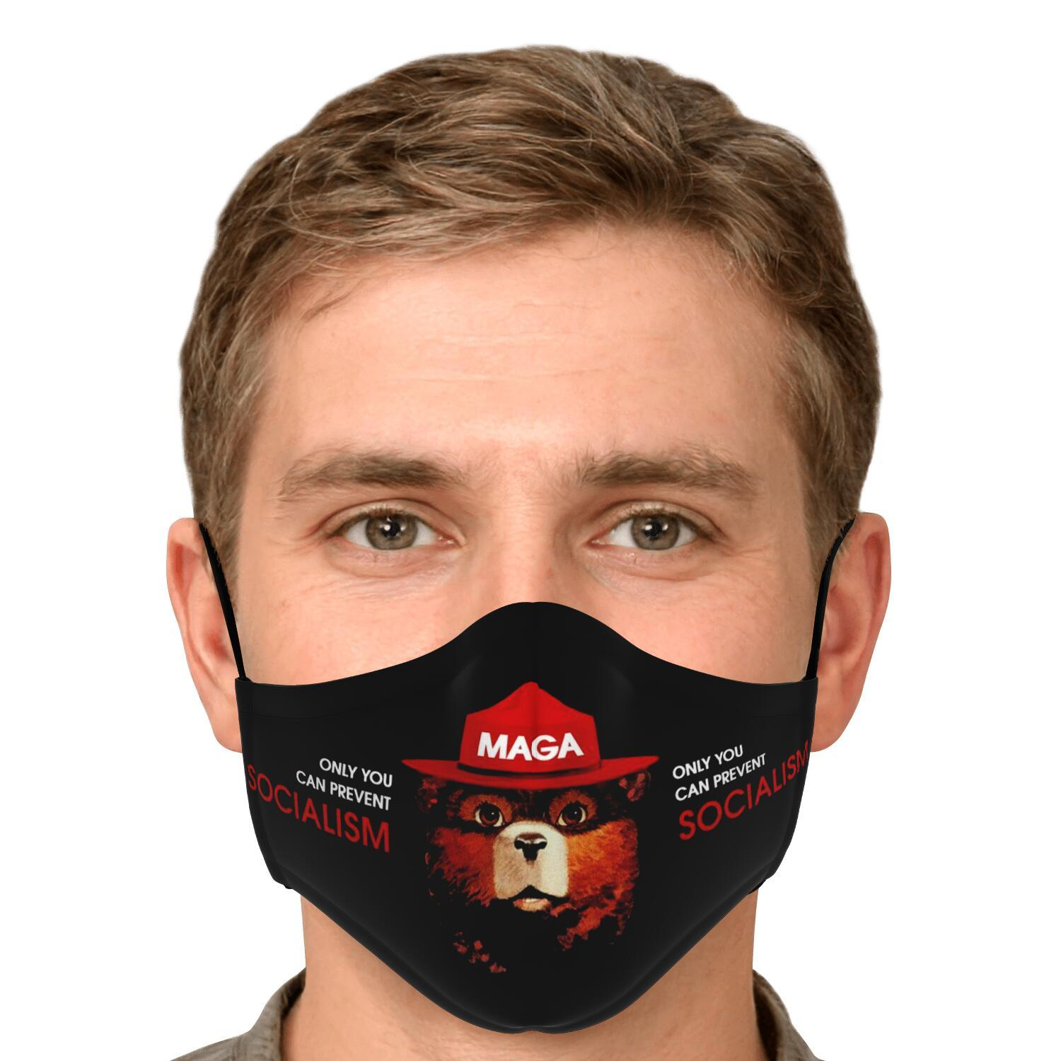 Only You Can Prevent Socialism MAGA Smokey The Bear Face Mask 5