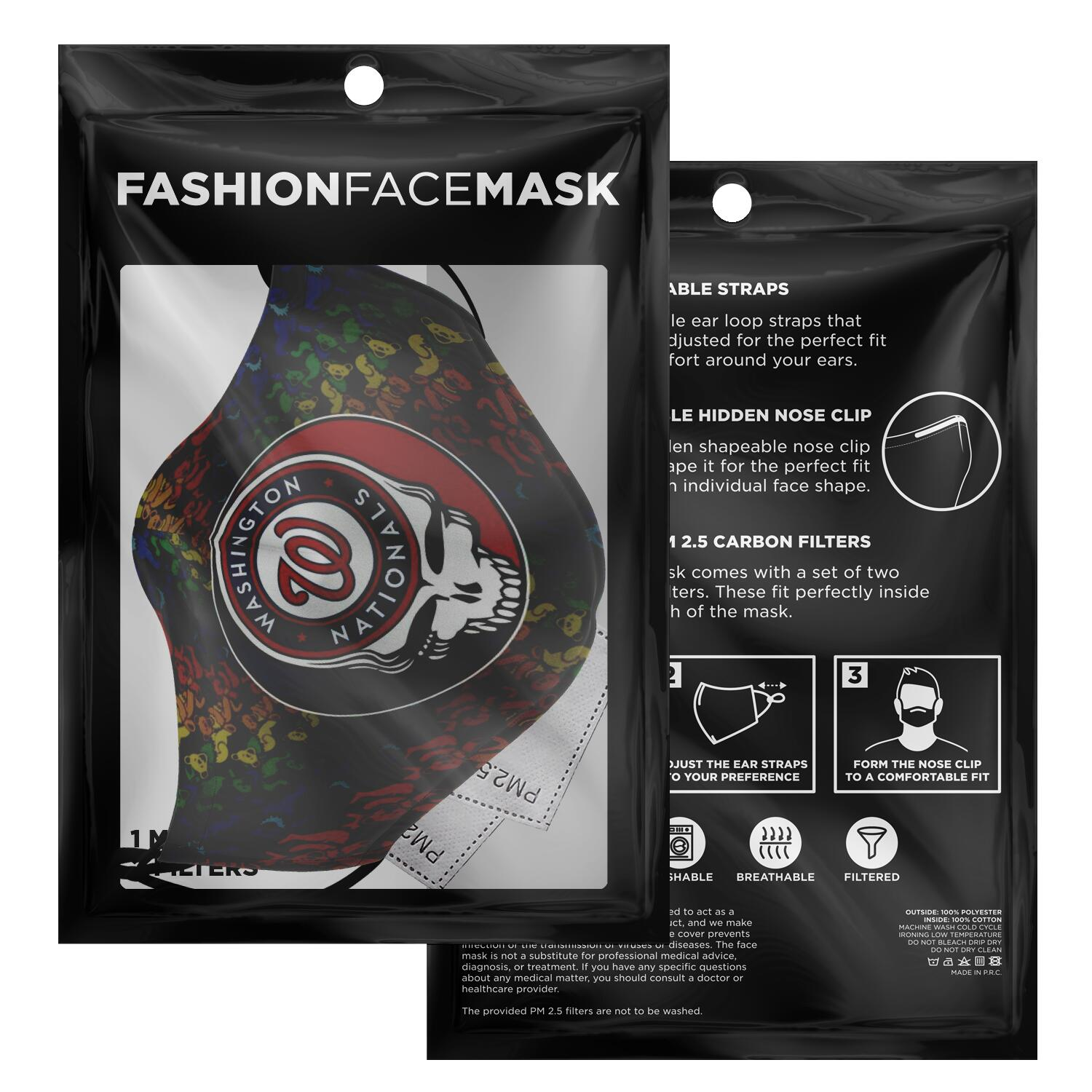 Steal Your Face Grateful Dead Washington Nationals Face Mask 2