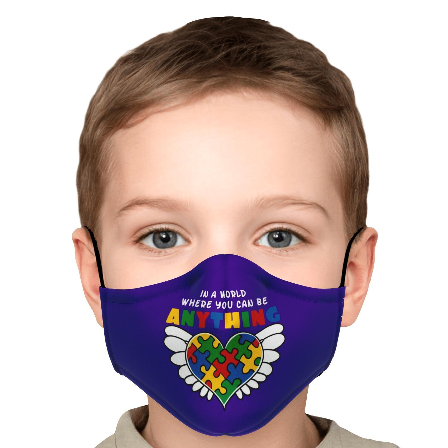 In A World Where You Can Be Anything Be Kind Autism Awareness Face Mask 5