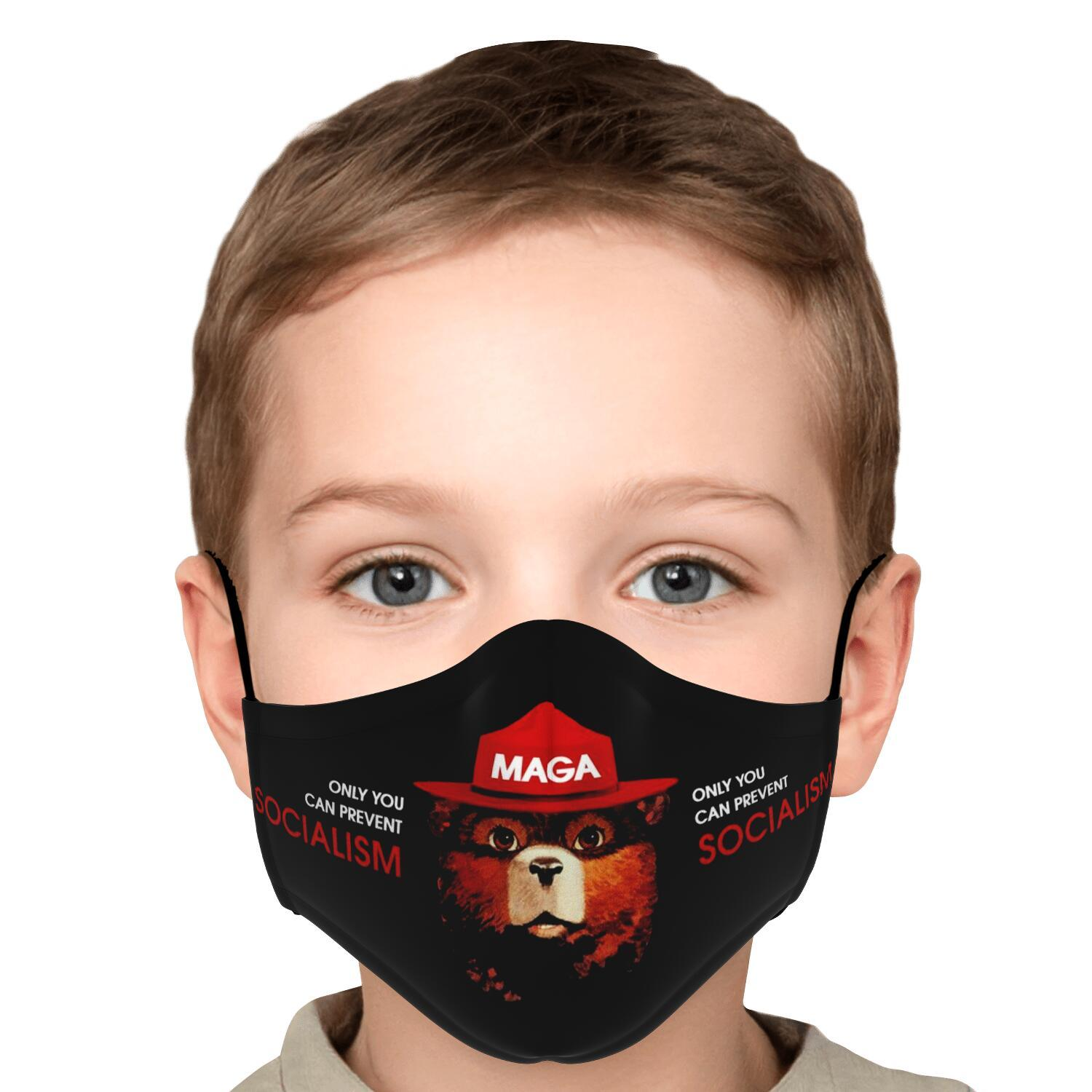 Only You Can Prevent Socialism MAGA Smokey The Bear Face Mask 6