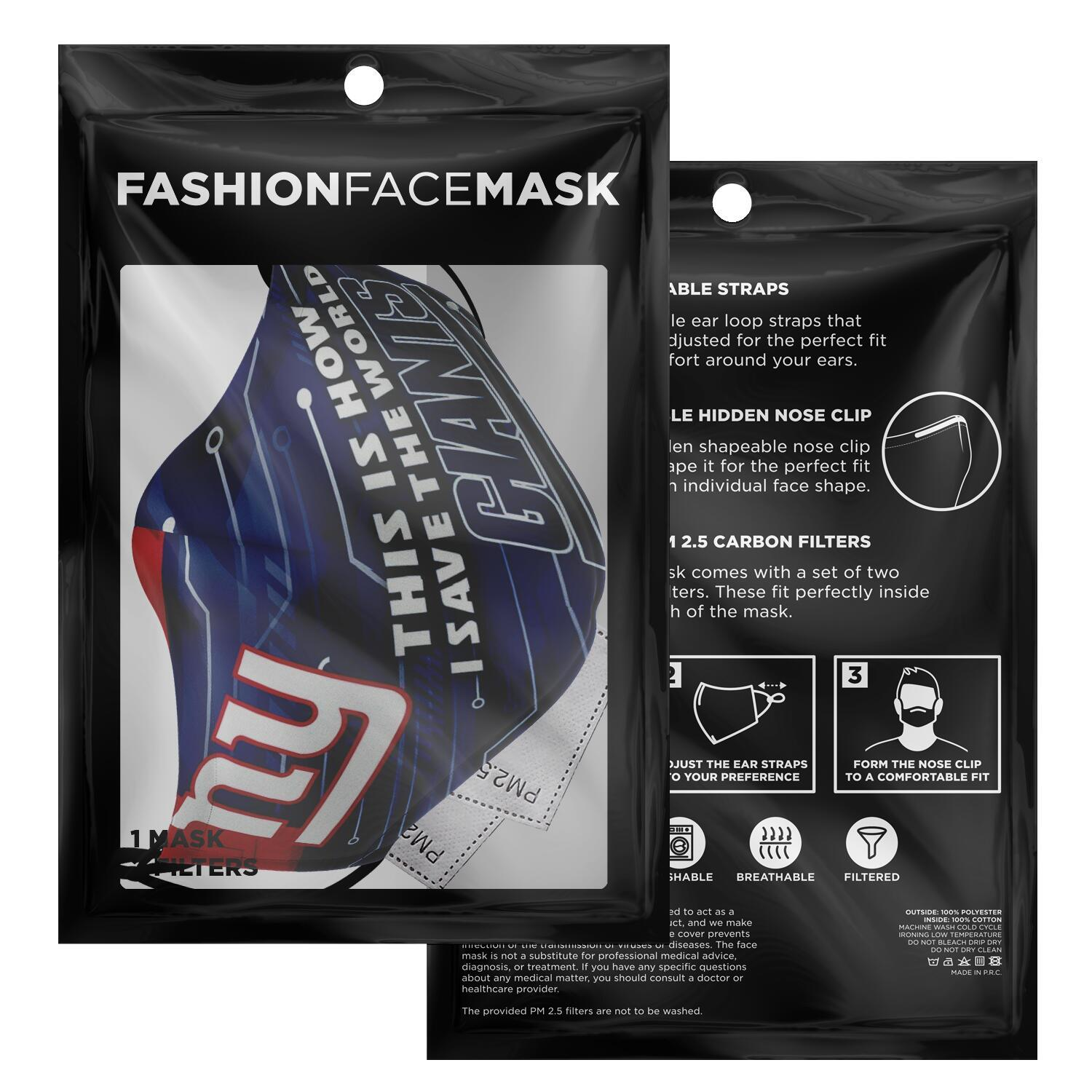 This Is How I Save The World New York Giants Face Masks 7