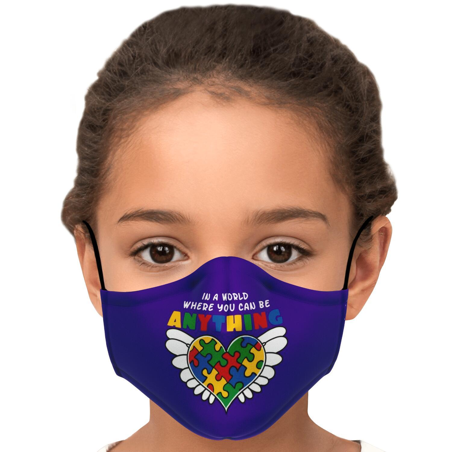 In A World Where You Can Be Anything Be Kind Autism Awareness Face Mask 6