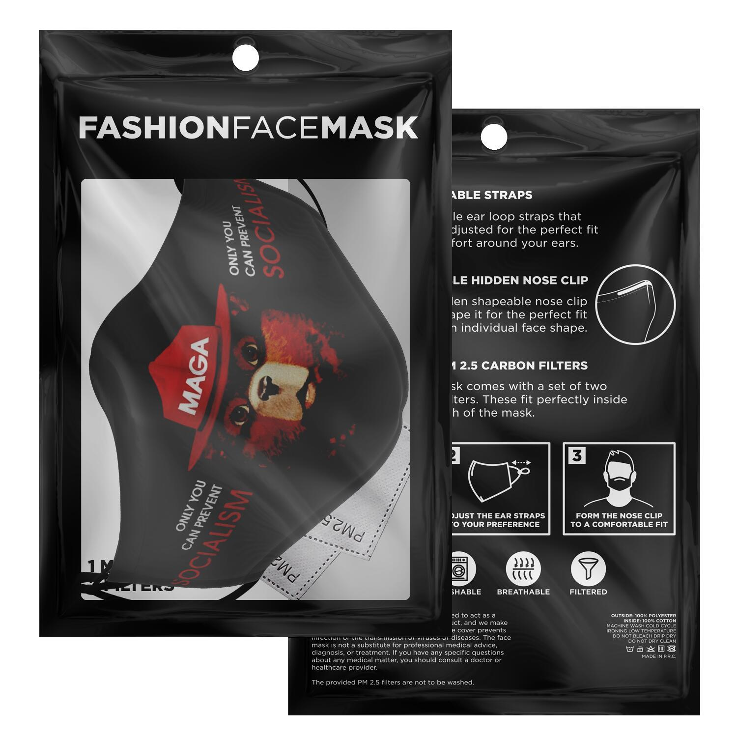 Only You Can Prevent Socialism MAGA Smokey The Bear Face Mask 3