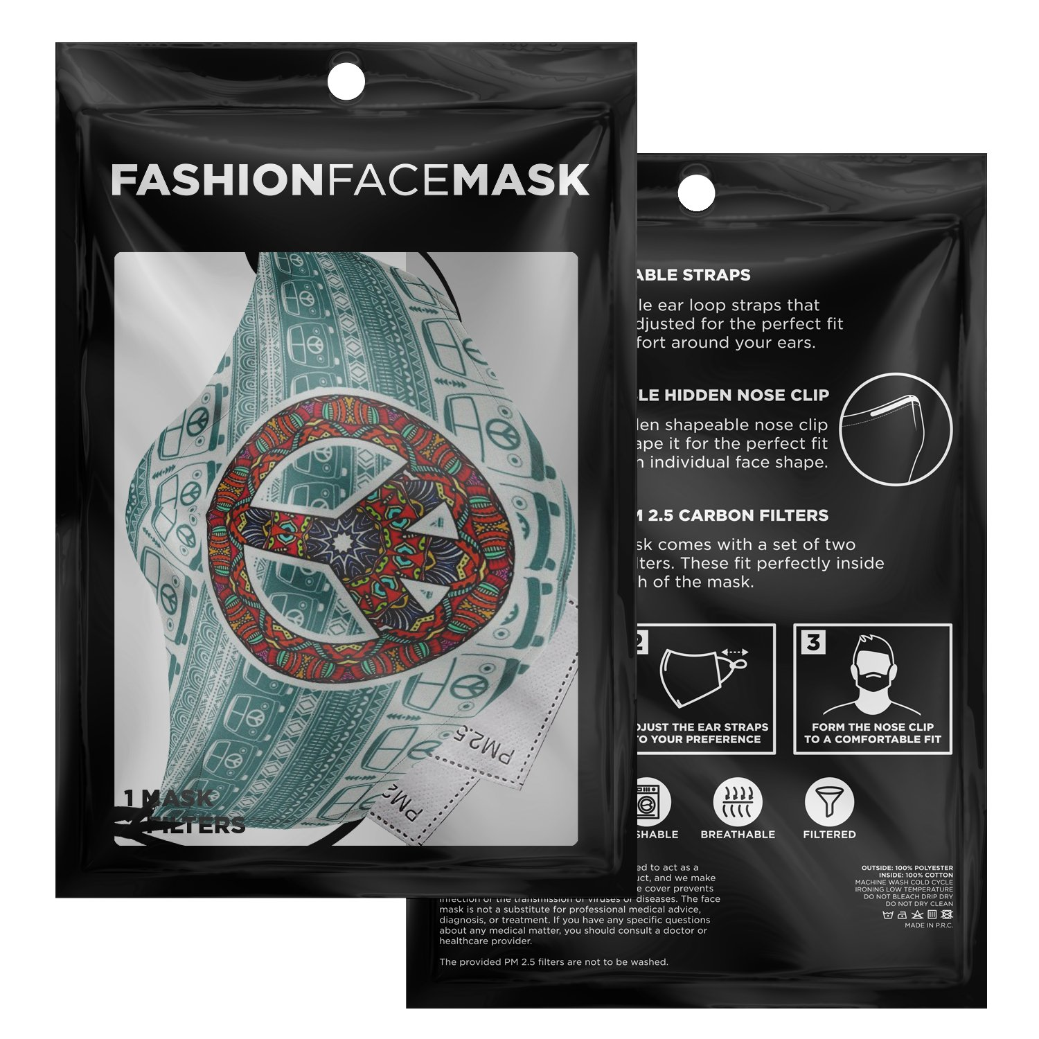 Hippie Van Volkswagen Peace And Love Face Mask 9