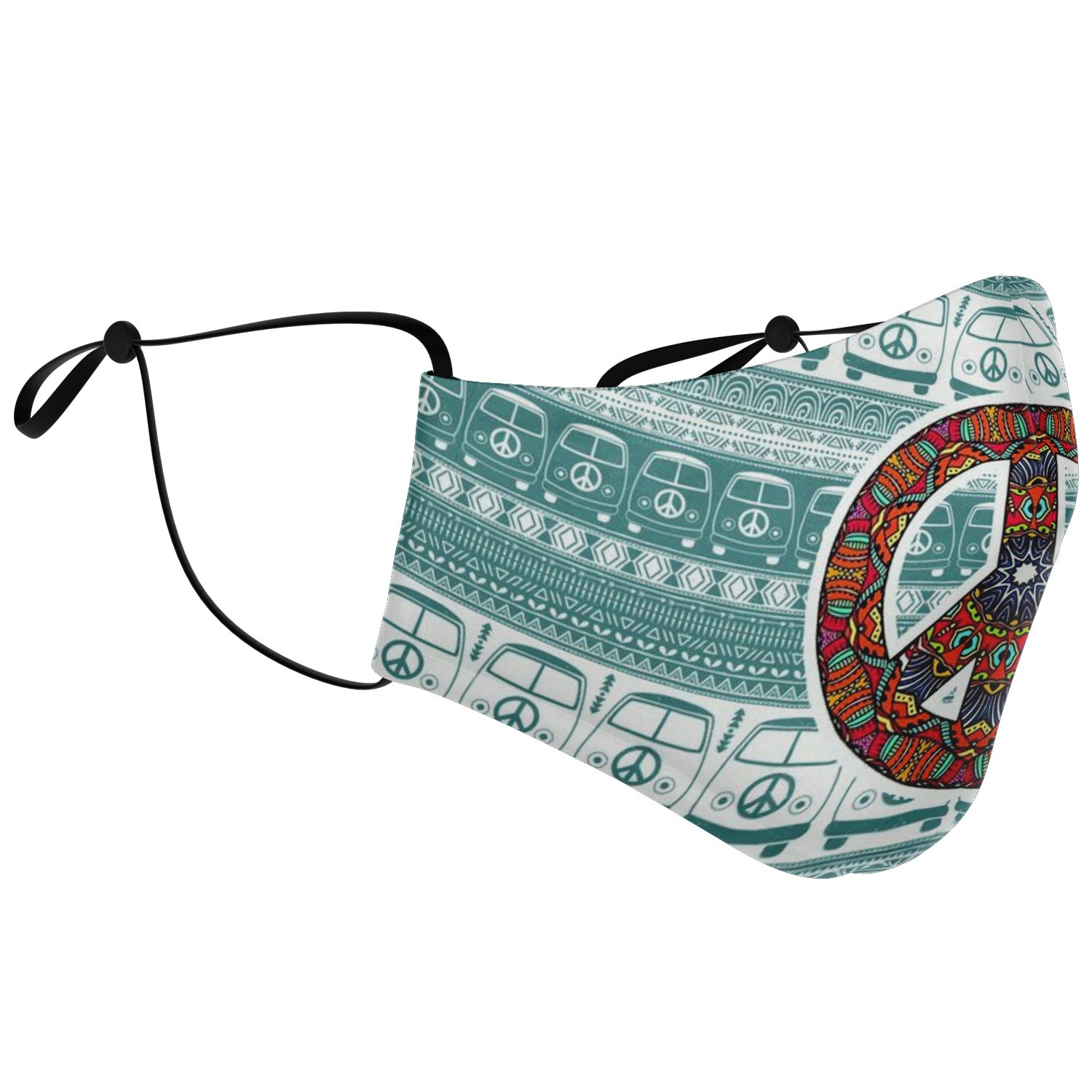 Hippie Van Volkswagen Peace And Love Face Mask 2