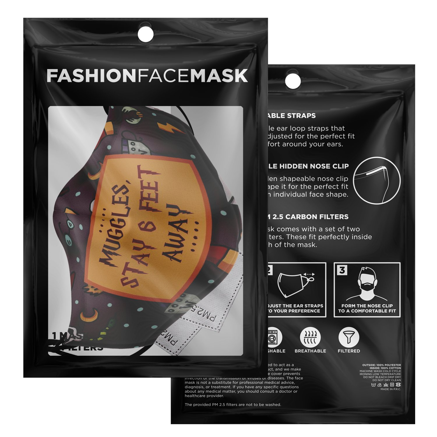 Muggles Stay 6 Feet Away Harry Potter Face Mask 3