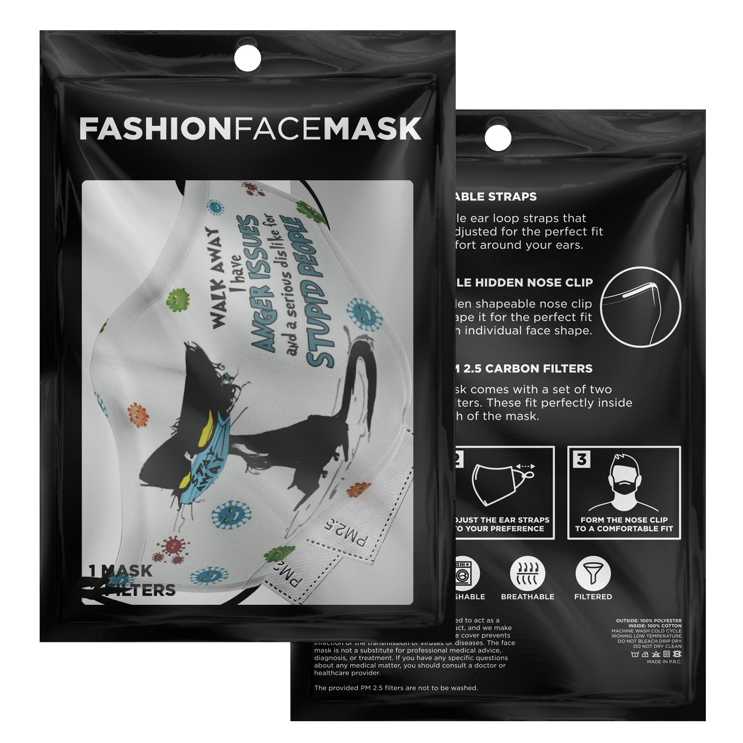 Walk Away Stupid People Black Cat Face Mask 3