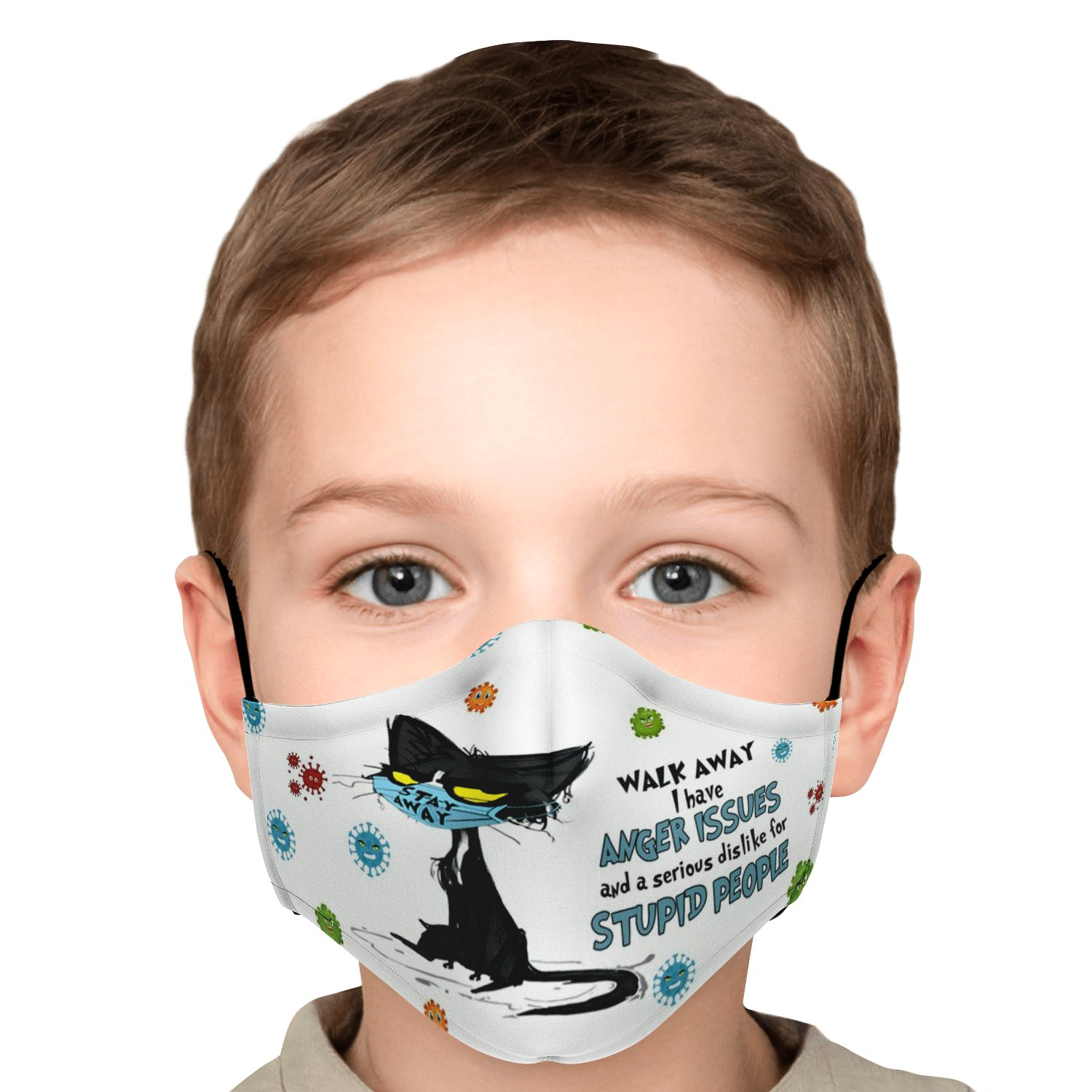 Walk Away Stupid People Black Cat Face Mask 6