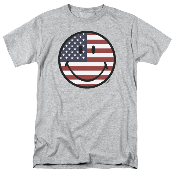 Smiley World - American Flag USA Face T-Shirt, USA, USA T-Shirt