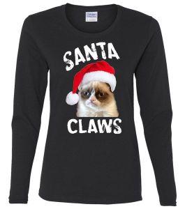 Santa Claws Ladies Missy Fit Long Sleeve Shirt