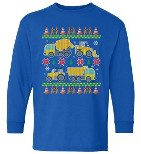 Tractors And Bulldozers Ugly Christmas Sweater Kids Long Sleeve Shirt