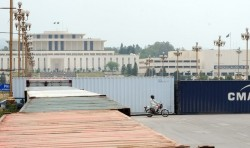 Containers outside the Pakistan Parliament