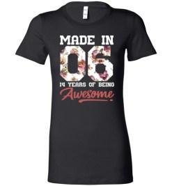 $19.95 – 14 Years Old Birthday Girl Shirts Born in 2006 14th Birthday Lady T-Shirt