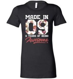 $19.95 – 11 Years Old Birthday Girl Shirts Born in 2009 11th Birthday Lady T-Shirt