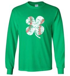 $23.95 – Baseball Shamrock T-Shirts Gift for St Patricks Day Long Sleeve T-Shirt