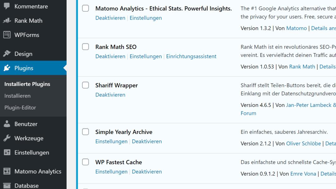 WordPress Backend, Screenshot Detail