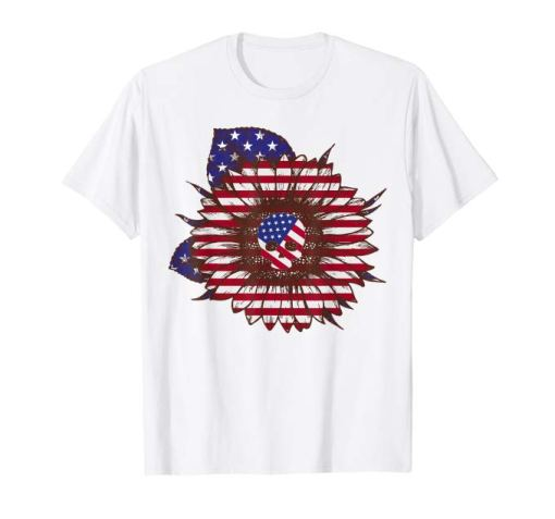 Hippie Sunflower Skull American Flag 4th Of July Tshirt