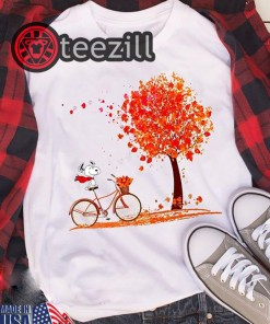 Snoopy Shirt Snoopy riding a bicycle hello autumn t-shirt