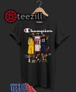Kobe Bryant, Michael Jordan and LeBron James Champion Tshirt