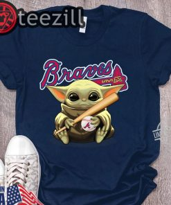 Baby Yoda Holding Braves Ball Shirt Tshirt