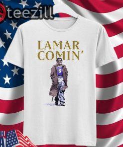 Lamar Comin 8 Shirt - Lamar Jackson Shirt - Baltimore Ravens Tshirts