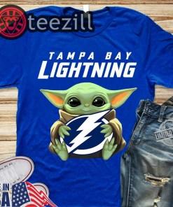 Logo Baby Yoda Hug Tampa Bay Lightning Shirts