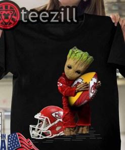 Baby Groot Hugging Kansas City Chiefs Shirt