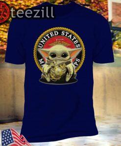 United States Marines Corps Veteran Baby Yoda Tshirt