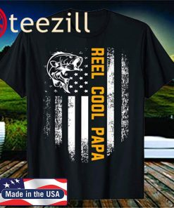 Reel Cool Papa Shirt Vintage Flag Fishing Father's Day Gift