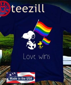 LGBT SNOOPY AND WOODSTOCK LOVE WINS T-SHIRT