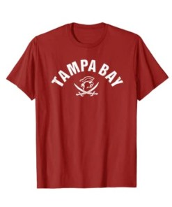 Red Tampa Bay Old School Pirate TB Cool Tampa Bay TShirt