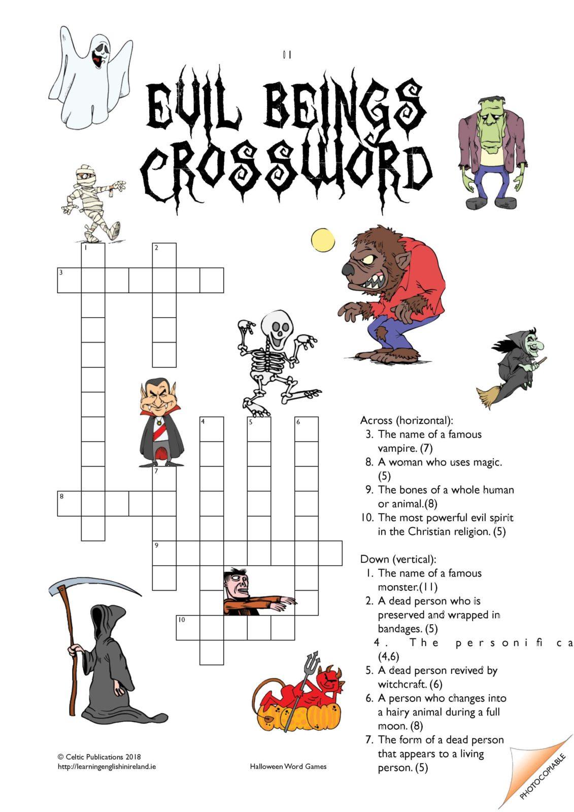 Halloween Evil Beings Crossword Worksheet
