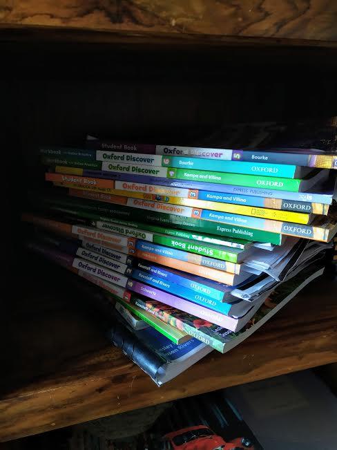 language school books piled up