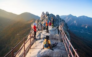Group of people hiking in South Korea