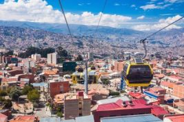 Cable car over city of El Alto