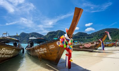 Thai wooden boat on beach