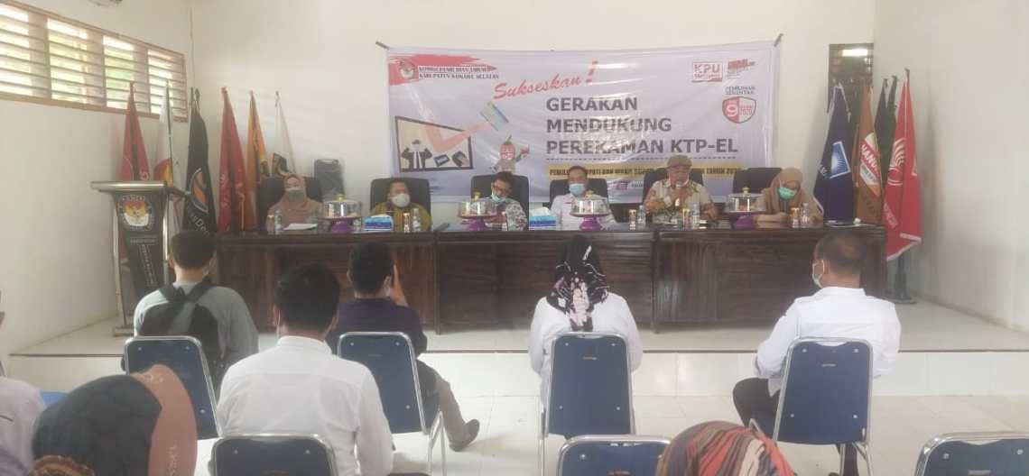 Suasana rapat gerakan mendukung perekeman e-KTP di Aula Kantor Sekretariat KPU Konsel