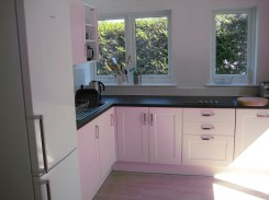 View of the kitchen with the sink and fridge
