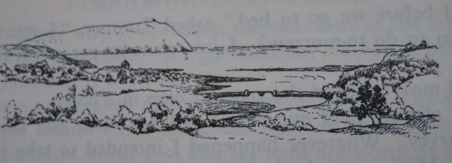 Dinas Island, illustration by Phyllida Lumsden for The Island Farmers by R M Lockley